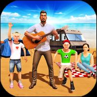 虚拟幸福的家庭度假野营